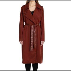 Badgley Mischka rust buttonless trench coat.